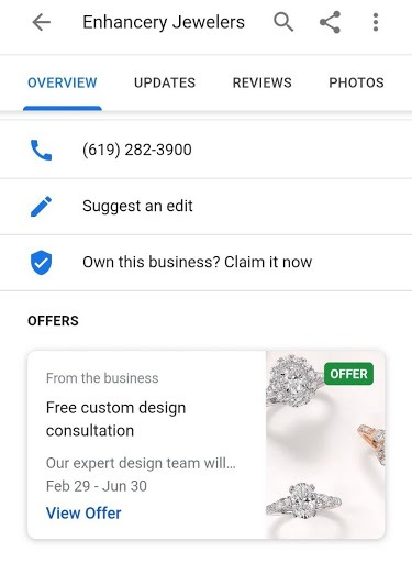 Offers and promotional posts in Google My Business
